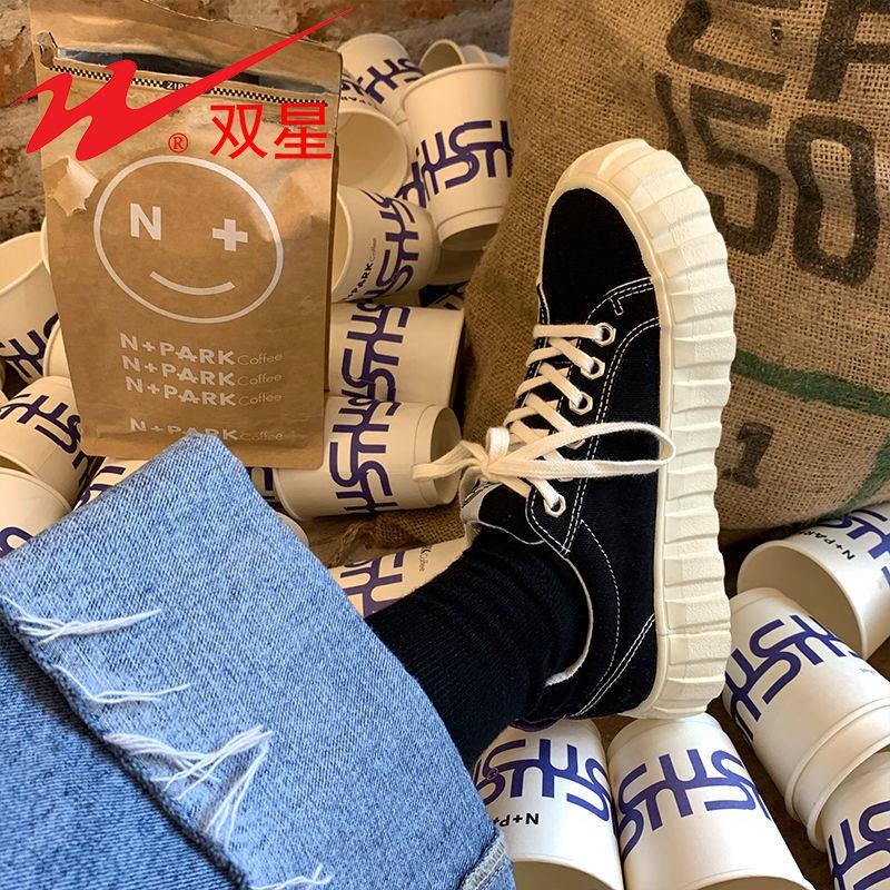 รองเท้าคัชชู รองเท้าผู้หญิง ร้องเท้า ❇คู่ดาวสีดำรองเท้าผ้าใบหญิงการออกแบบวัดรองเท้าหลายร้อยของ 2021 รองเท้าใหม่ Ins ฮ่อง
