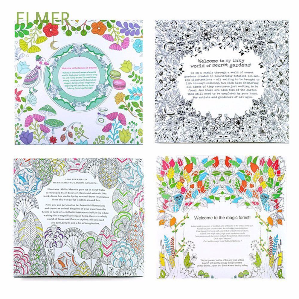 ELMER 24 Pages Painting Books Animal Kingdom Hand Painted Drawing Coloring Book Enchanted Forest Kill Time English Edition Office School Relieve Stress Fantasy Dream Graffiti