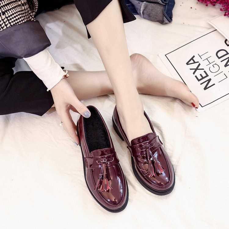 รองเท้าคัชชูหนัง คัชชูแบบสวม สไตล์เกาหลี/ญี่ปุ่น รองเท้าคัชชูแฟชั่น รองเท้าแฟชั่นผู้หญิง