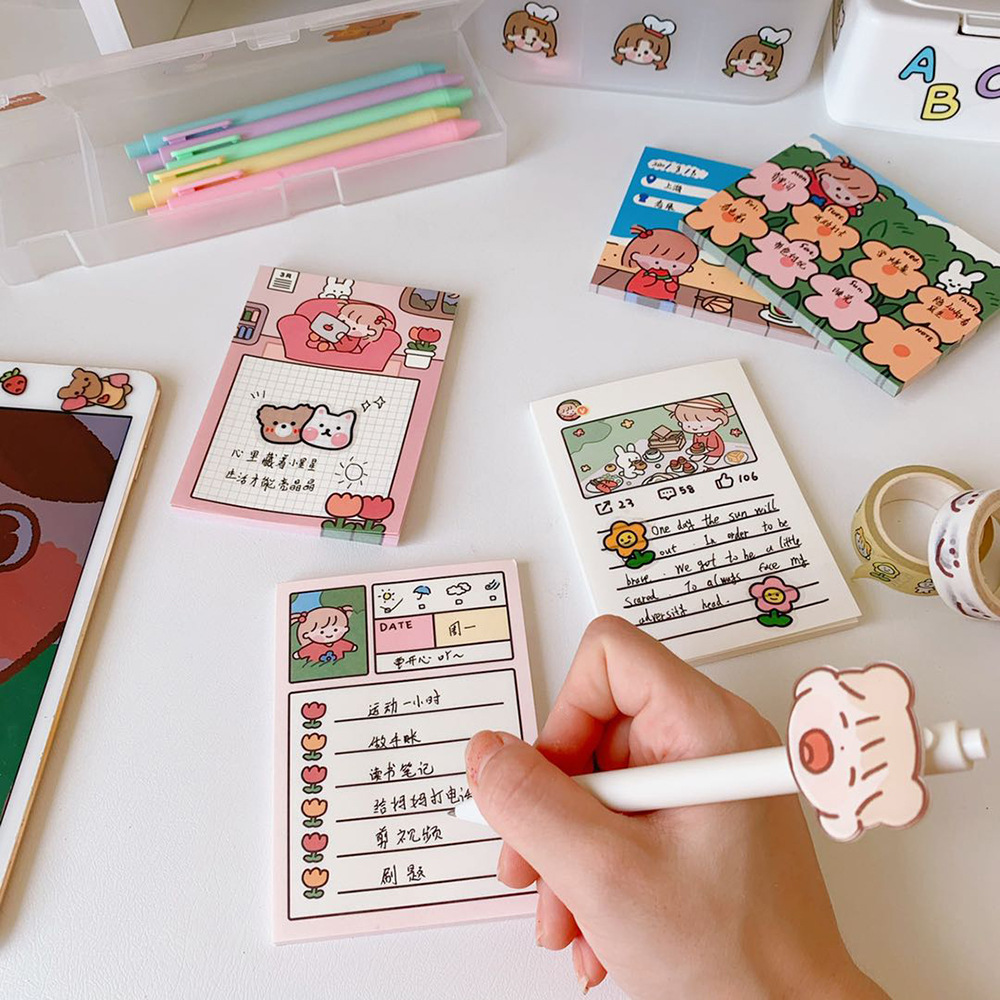 Korea Ins Cartoon Post-it Notes Student Grid Plan Memo Books Note Stickers