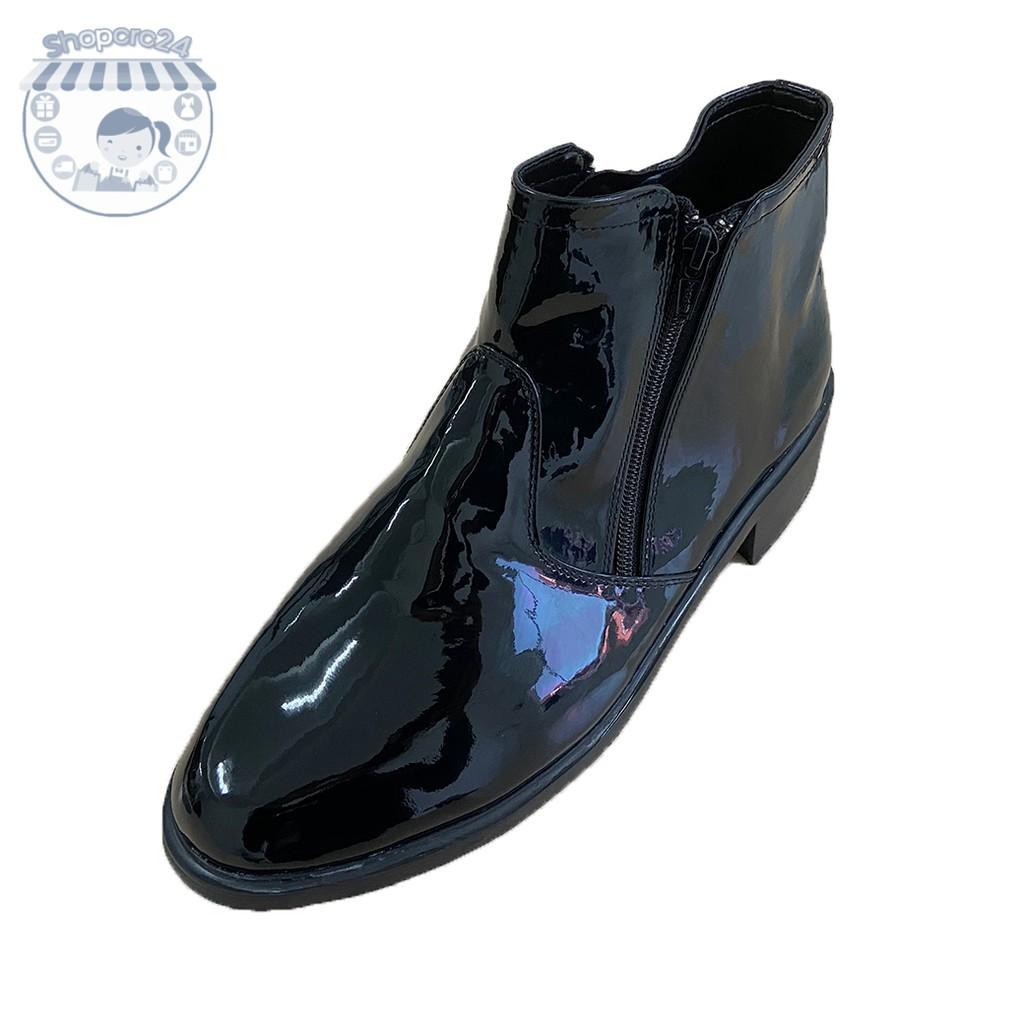 รองเท้าคัชชูผู้ชาย รองเท้าหนังผู้ชาย รองเท้า หนังแก้ว รองเท้าฮาฟ หนังแก้ว 903 สีดำ ซิปคู่