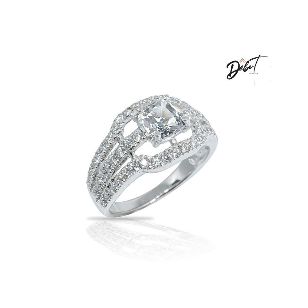 แหวนเพชร Silver 925 แท้ชุบทองคำขาว ประดับด้วย CZ Swarovskiคุณภาพส่งออกราคามิตรภาพใส่ได้ทุกโอกาสแหวนแฟชั่นผู้หญิง