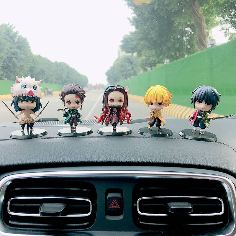 ♤Demon Slayer Anime Figure Car Decoration Tanjirou Nidouzi Butterfly Ninja Car Interior Decoration Model➳