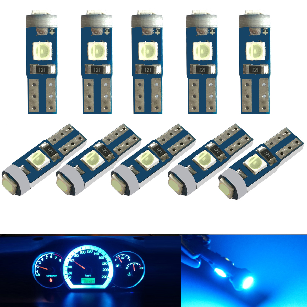10 pcs 12 V canbus T5 58 74 286 W1.2W Super Bright 3030 LED 3SMD wedge LED Light Dashboard แผง Cluster แผงหลอดไฟ