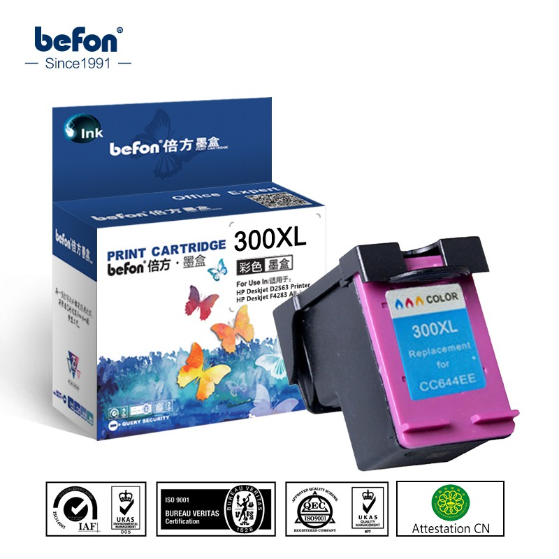 ∋✴befon Re-manufactured Color Ink Cartridge Replacement for HP 300 HP300 Deskjet D1660 D2560 D2660 D5560 F2420 F2480 F24