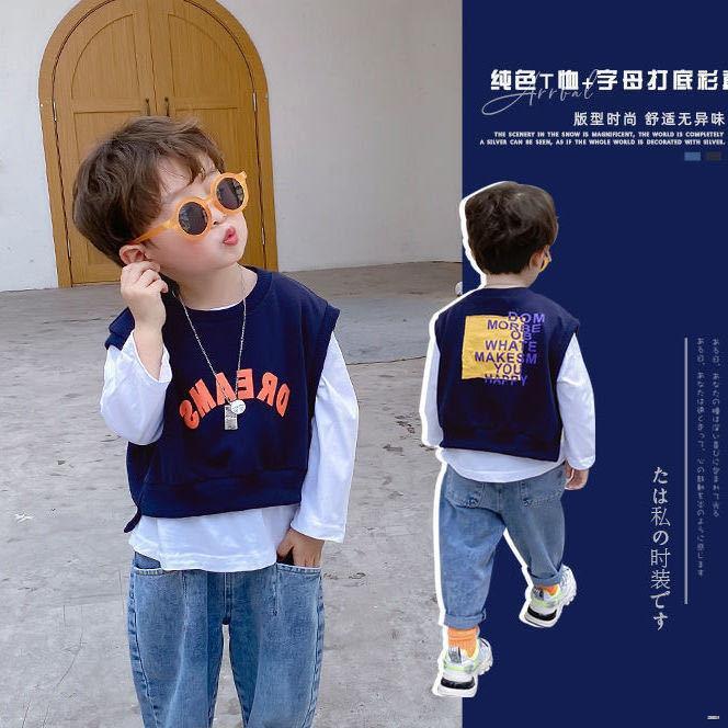 ยางยืดออกกําลังกาย☬(ชุดเด็ก)  เสื้อผ้าเด็กเสื้อกันหนาวเด็กทารก 2021 ฤดูใบไม้ผลิและฤดูใบไม้ร่วงใหม่ชายเสื้อยืดเสื้อสูทสอ