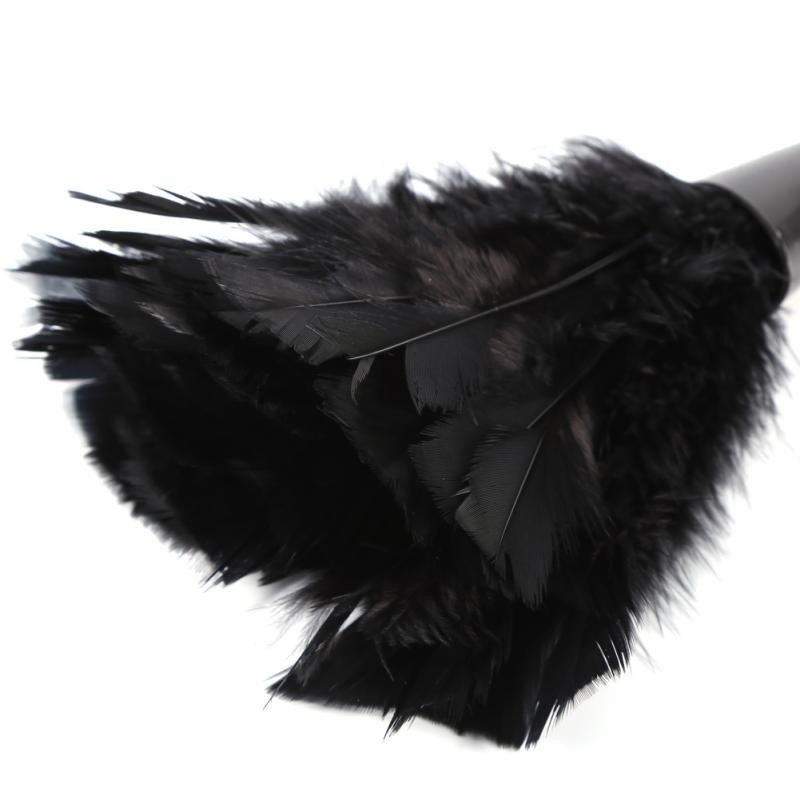 Color : Black Soft Turkey Feather Duster Brush with Black Handle Home Furniture Car Cleaning Tools Feather Duster