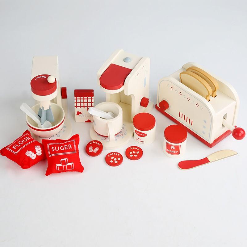 ✢เด็กบ้านไม้ Play House ไมโครเวฟเครื่องทำขนมปังเครื่องชงกาแฟชุดเด็กการศึกษาจำลองของเล่นตัดครัว