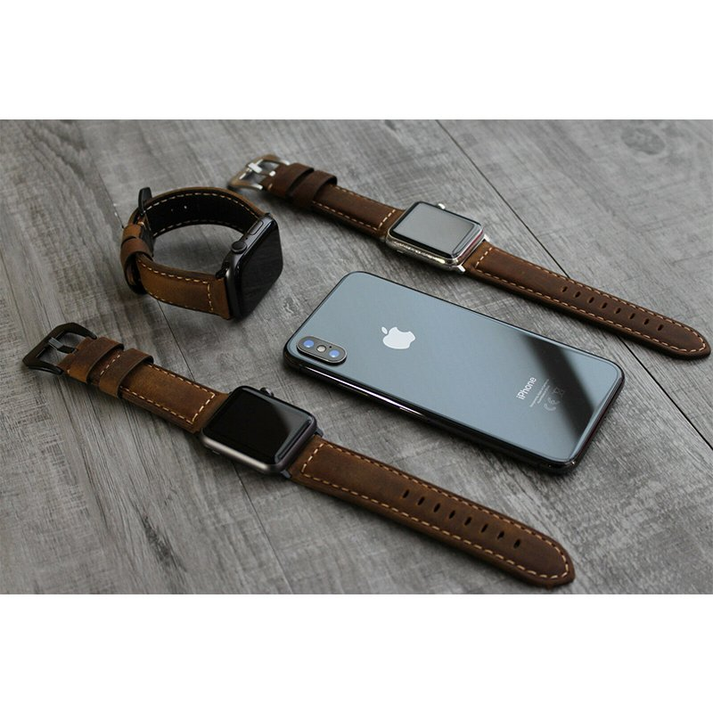 For Apple Watch Series  6 5 4 3 2 1 100% Brown Bull Leather Strap Band for iwatch band for apple watch band 42mm 44mm 38