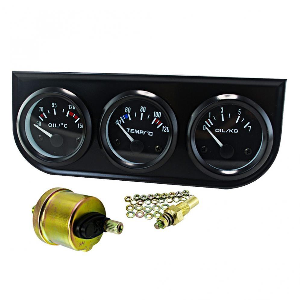 2/'/' 52mm Car Oil Temperature Gauge Auto Interior Gauge Accessory Gray Metal New