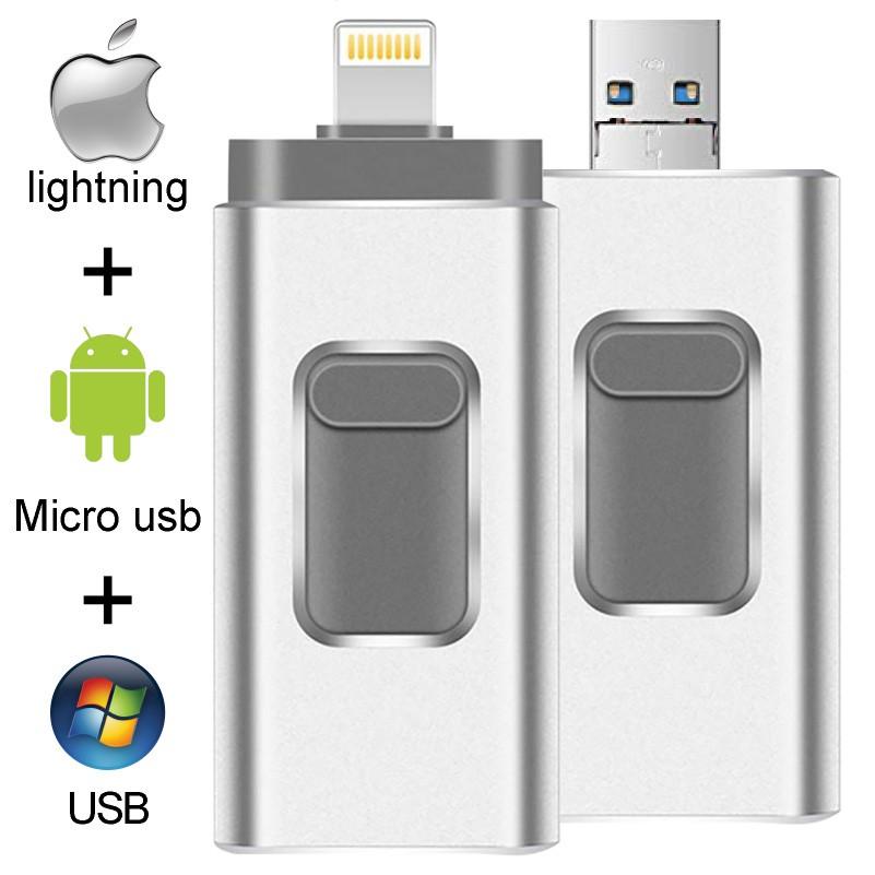 แฟลชไดรฟ์ Usb สําหรับ Iphone X / 8 / 7 / 7 Plus / 6 / 6s / 5 Ipad 16 Gb 32gb 64gb 128 Gb Otg Pendrive Hd