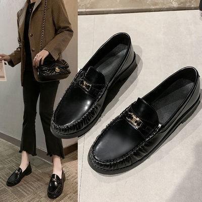 🌼รองเท้าคัชชูผู้หญิงพื้นยางนิ่ม รองเท้าหนังขนาดเล็กหญิงใหม่ JK รองเท้าผู้หญิงรองเท้าไม่มีส้นอังกฤษสีดำแบนรองเท้า