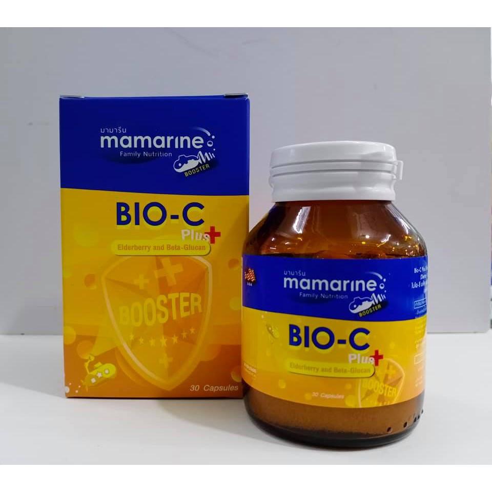 Mamarine BIO-C Plus Elderberry and Beta-Glucan (30เเคปซูล) สำหรับผู้ใหญ่ สำหรับผู้ที่ป่วยง่าย แพ้ฝุ่น