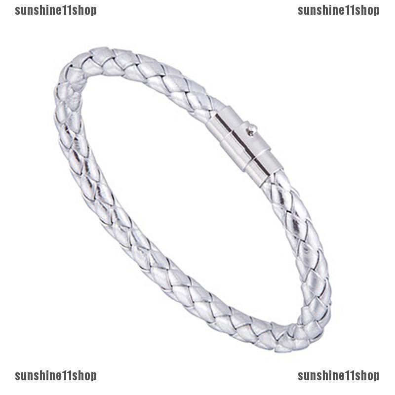 1Pcs Unisex Women Men Braided Leather Steel Magnetic Clasp Bracelet Handmade