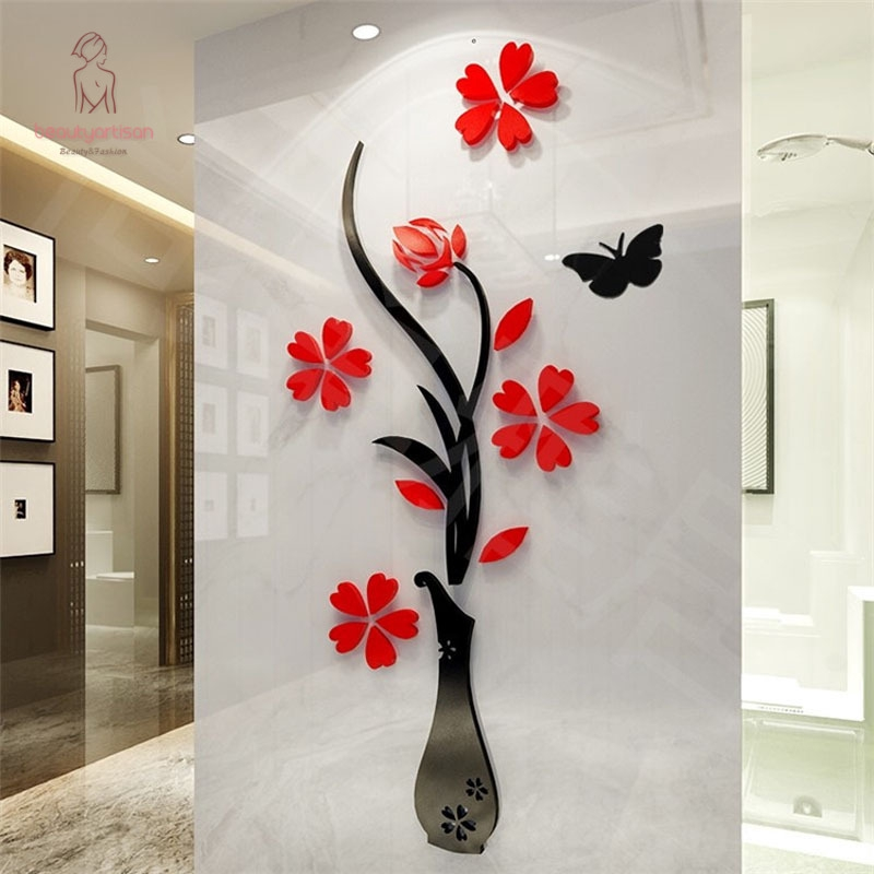 32*80cm Wall Sticker Removable 3D Mirror Romantic Flower Stickers DIY Art Decal Home Bedroom TV Background Decoration
