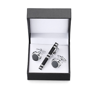 Plaese COD  A set of high-grade tie clip carved exquisite Cufflinks anchor Sax crystal Cufflinks tie clip black square b