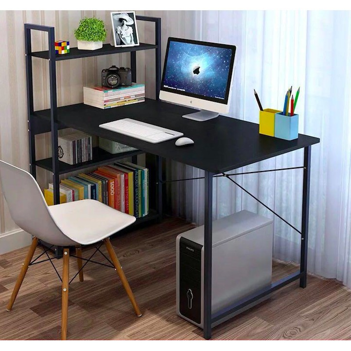 ┅🔥ถูกสุดๆ ลดกระหน่ำ🔥HomePro+ โต๊ะทำงานไม้ พร้อมชั้นวาง โครงเหล็ก 120x55x120 cm โต๊ะคอม ชั้นวางของ โต๊ะทำงาน โต๊ะไม้