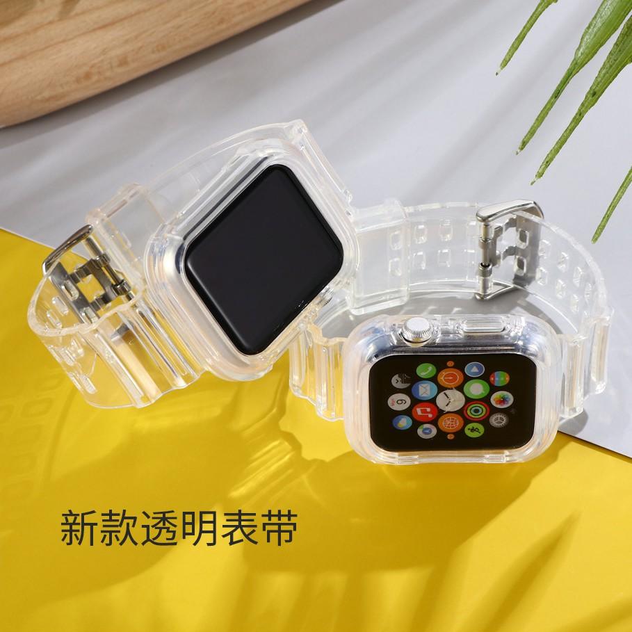 สายนาฬิกาข้อมือ + เคส Apple Watch Band 6 se 5 4 44มม. 40มม. 38มม. 42มม. iWatch Series 5 4 3 2 1 Transparent Strap Apple Watch 40mm 44mm 38mm 42mm