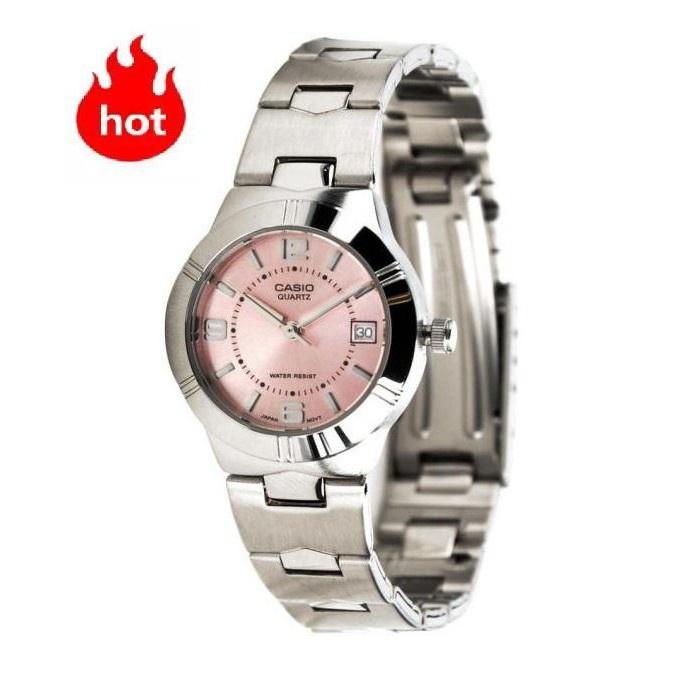 ♙☃✇(ขายดี) Casio นาฬิกาข้อมือผู้หญิง รุ่น LTP-1241D-4A- สายสแตนเลส หน้าปัดชมพู ของแท้ 100% ประกันศูนย์ CMG 1 ปีเต็ม