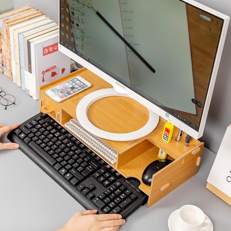 จอคอมพิวเตอร์เพิ่มขึ้นโต๊ะทำงานเดสก์ท็อปจอแสดงผลยึดฐานสก์ท็อปแป้นพิมพ์จัดเก็บแร็คจบ