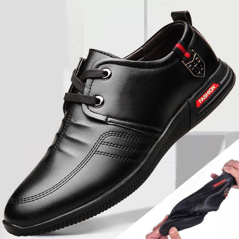 รองเท้าคัชชูผู้ชาย รองเท้าชาย รองเท้าผู้ชายเทรนด์เกาหลีสีดำลูกไม้ขึ้นธุรกิจบวกรองเท้าลำลองผู้ชายผ้าฝ้ายป่ารองเท้าเยาวชนร