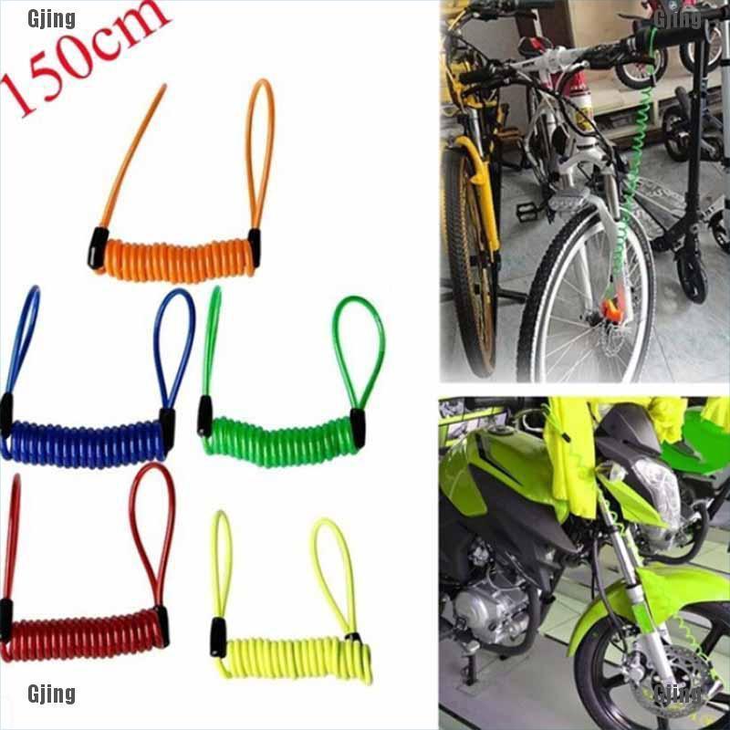 Anti Thief Motorbike bike Wheel Disc Brake Bag And Reminder Spring Cable lockvn