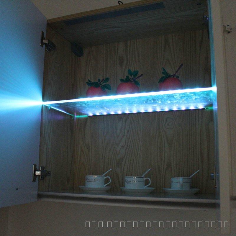 LED ชั้นวางแก้วภายใต้ตู้ไฟแก้วขอบด้านข้าง 30/40/50 ซม. คลิป Clamp โคมไฟตู้โชว์โคมไฟเหล้า Shelf Decor ri4Y