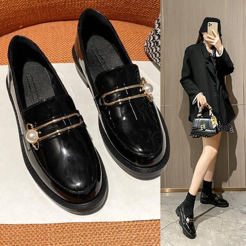 ร้องเท้า รองเท้าคัชชู รองเท้าผู้หญิง ✯2021 ใหม่รองเท้าเดียวของผู้หญิงหนังนิ่มรองเท้าหนังขนาดเล็กหญิง Yinglan ลมสีดำ Laof