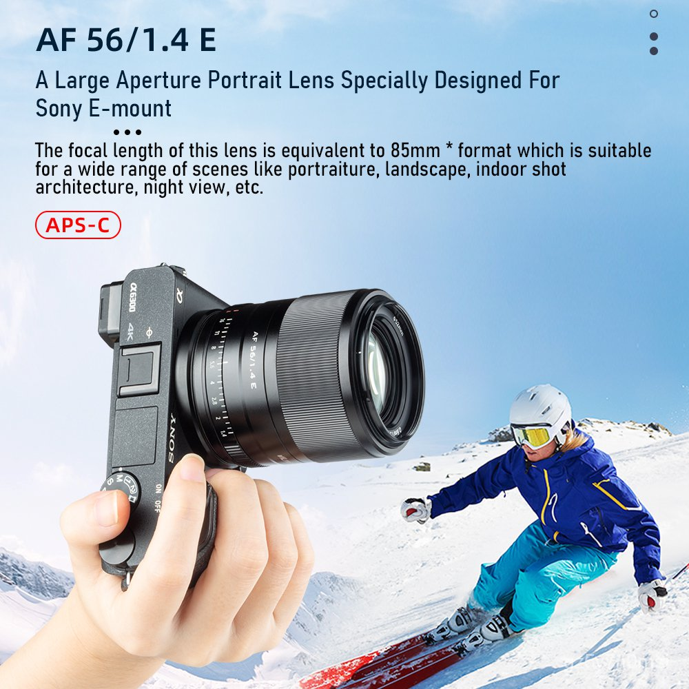 Viltrox 56mm f1.4 large aperture STM AF Auto focus APS-C lens for Sony E-mount Mirrorless Cameras A7M3 A9 A7RII A7C A7RI