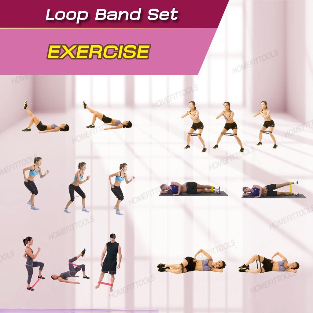 ❧♤ยางยืดออกกำลังกาย ยางดึงออกกำลังกาย สายแรงต้านออกกำลังกาย Exercise Loop Band แบบห่วง - Homefittools