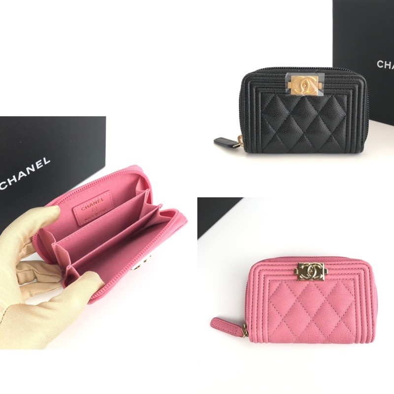 Chanel Boy mini coin purse / cardholder zip ใส่บัตร ใส่เหรียญ ของแท้ ส่งฟรี EMS ทั้งร้าน