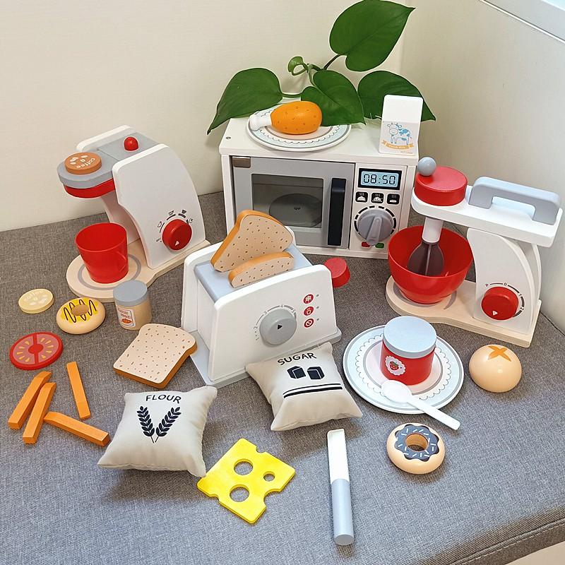 เด็กเล่นบ้านไม้ไมโครเวฟเตาอบเครื่องทำขนมปังเครื่องชงกาแฟชุดเด็กการศึกษาจำลองครัวตัดของเล่น