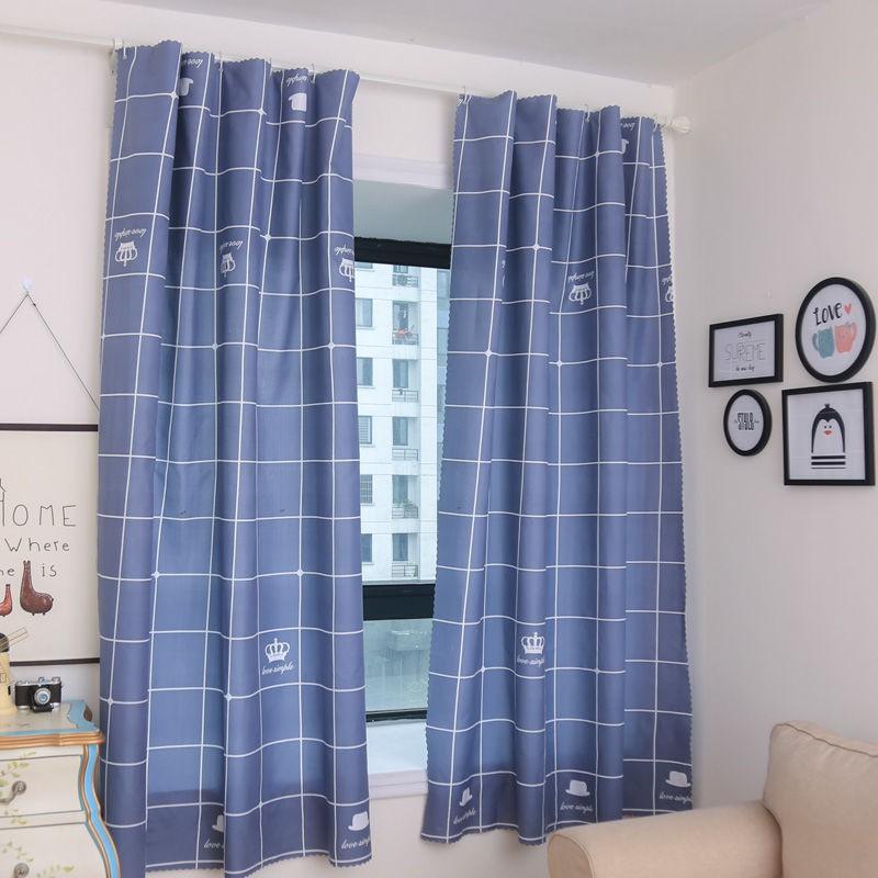 [เจาะฟรี] ผ้าม่านสำเร็จรูปผ้าม่านห้องนอนม่านทึบสั้นม่านลอย