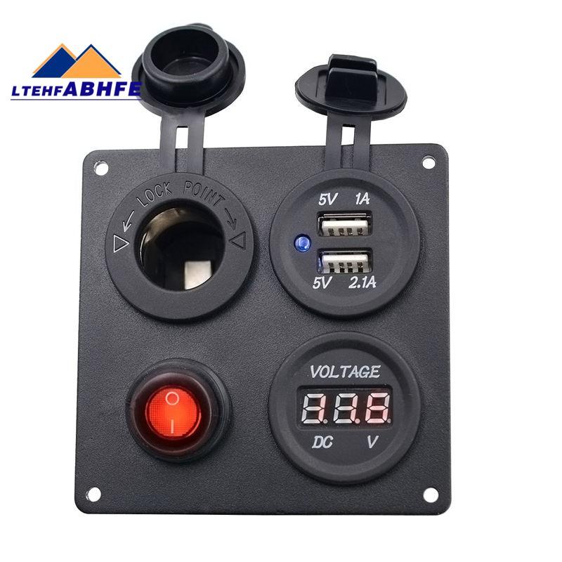 Car Truck Boat 2 USB Socket Voltmeter Mental Power Socket ON-OFF Switch Black