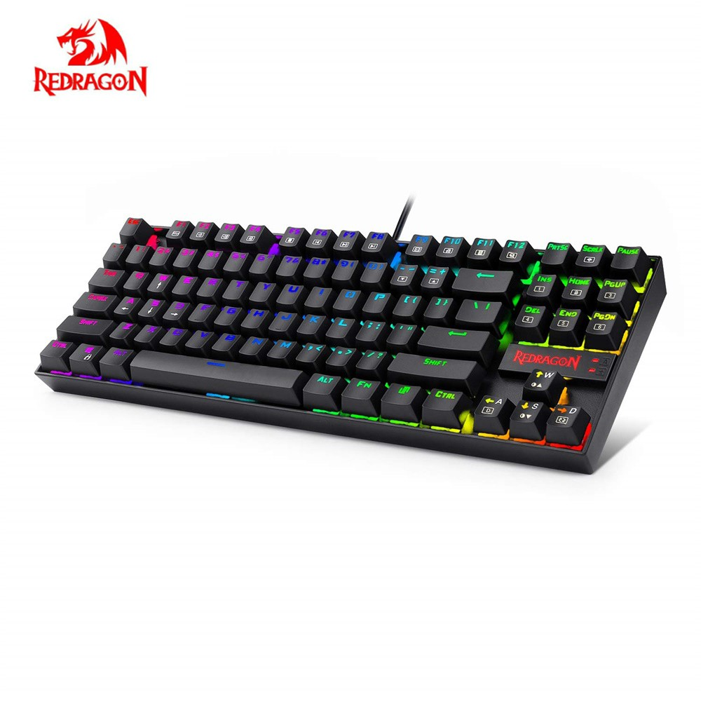 Redragon K552RGB KUMARA K552 RGB Backlighting Mechanical Gaming Keyboard 87 Keys Blue Switches Backlit Keyboard For Game