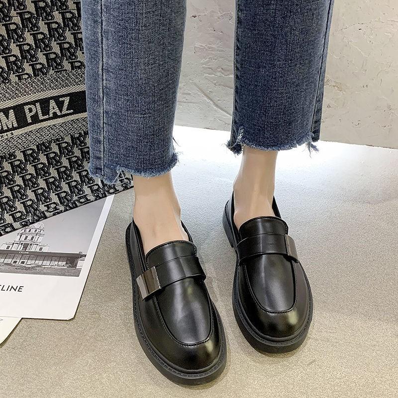 ร้องเท้า รองเท้าผู้หญิง รองเท้าคัชชู ♚รองเท้าเดียวหญิง 2021 ฤดูใบไม้ผลิและฤดูร้อน Yinglan ลมรองเท้าหนังสีดำแบนเวอร์ชั่นเ