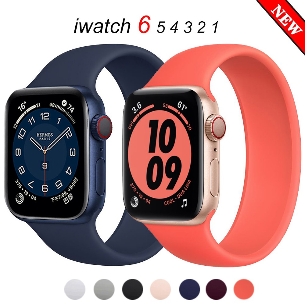 Strap for Apple Watch 6 Band 44mm 40mm iWatch bands 38mm 42mm Belt Silicone Solo Loop bracelet watchband for series 6 5