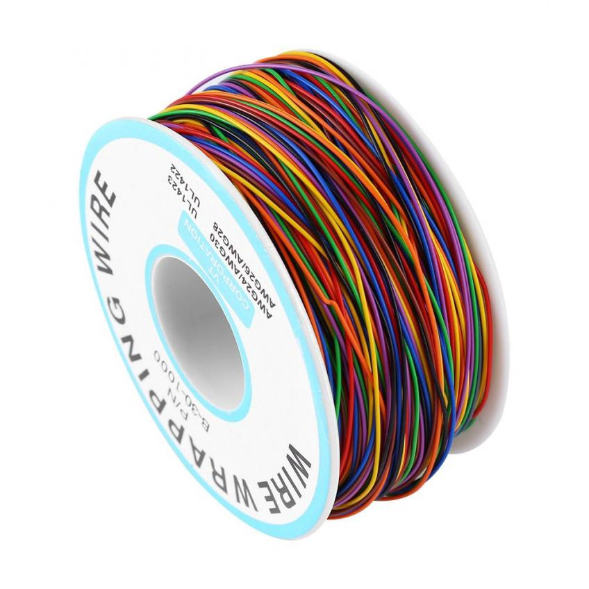 30 AWG Wrapping Cable 280M B-30-1000 8 Wire Breadboard Jumper Colored Insulation