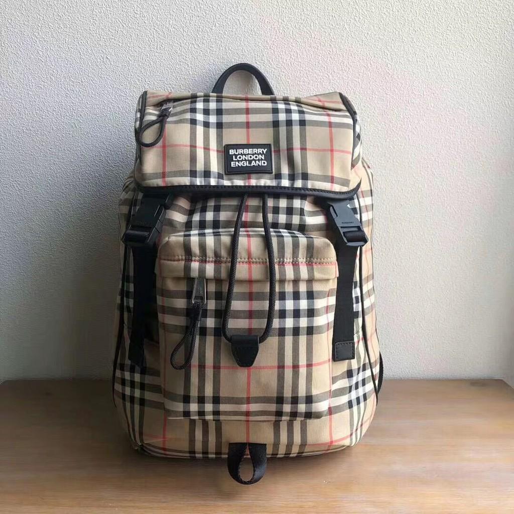 กระเป๋าผู้ชาย Burberry 2020 ใหม่ของแท้ ผ้าไนล่อน กระเป๋าเป้สะพายหลัง กระเป๋าเป้หลัง กระเป๋าเดินทางกลางแจ้ง กระเป๋าผู้ชาย
