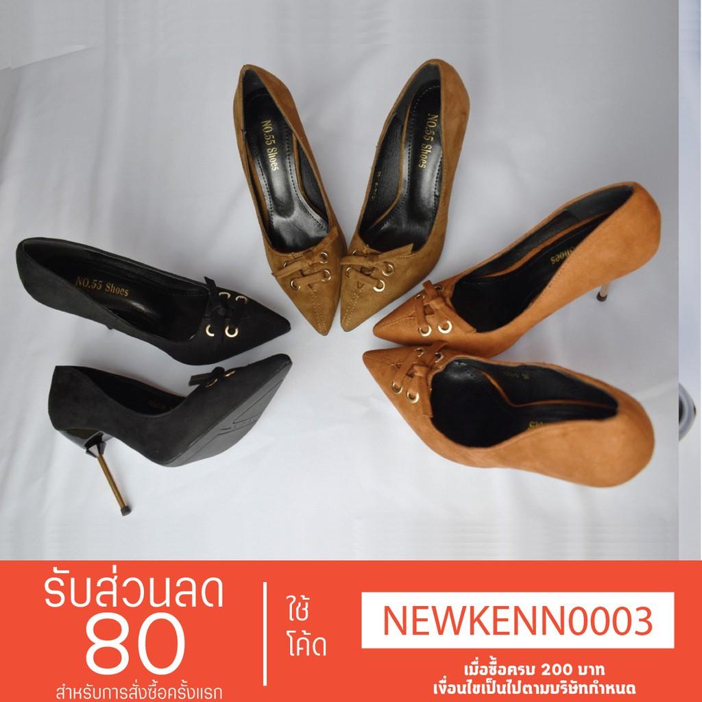 (รองเท้าพร้อมส่ง) รองเท้าคัชชูผู้หญิง รองเท้าแฟชั่นส้นสูง รองเท้าส้นเข็มผ้ากำมะหยี่ มาพร้อมส้นสูง 10 Cm. #3032-9