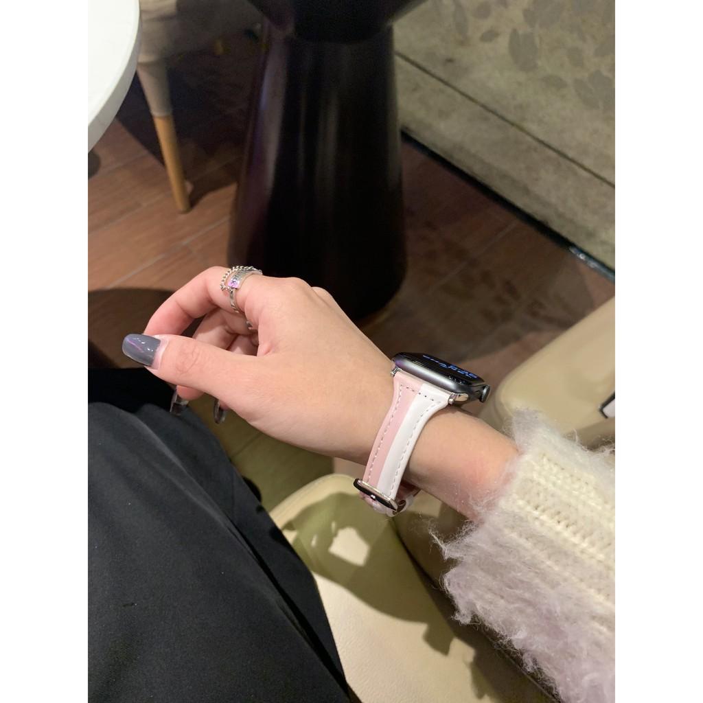 เคสนาฬิกา applewatchบังคับApplewatchสายนาฬิกา Apple หนังสีตัดiwatch1-6SEบุคลิกภาพอินเทรนด์สากลapplewatch