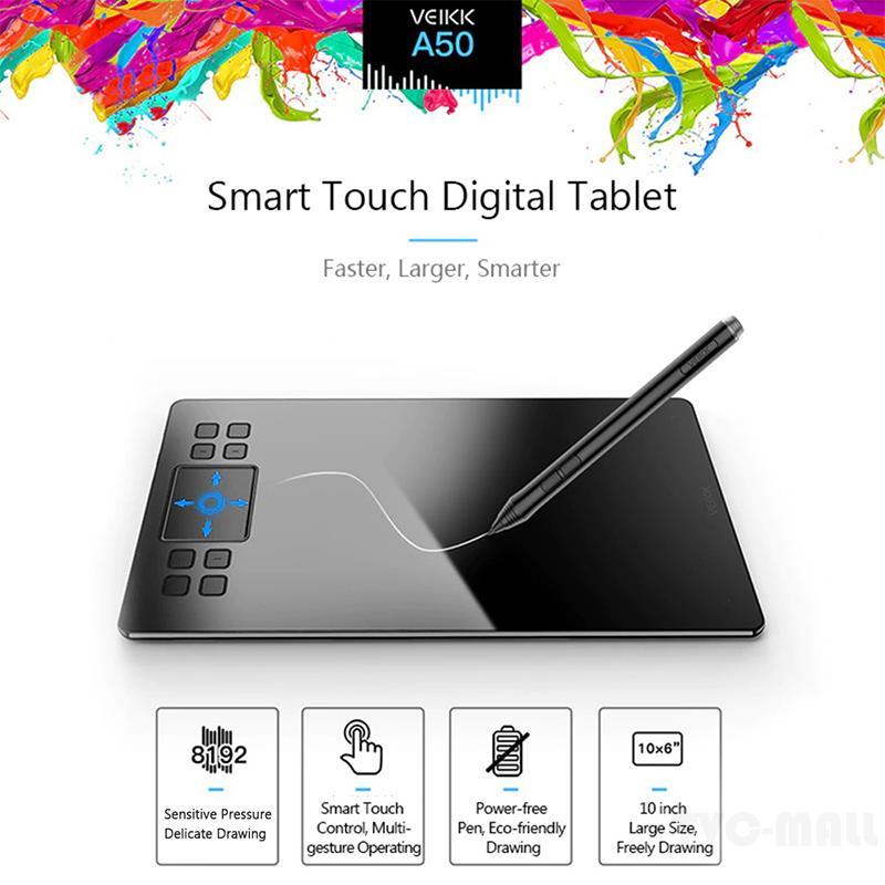 Veikk A50 Graphics Tablet พร้อม 8192 แท็บเล็ตสําหรับใช้ในการวาดภาพ