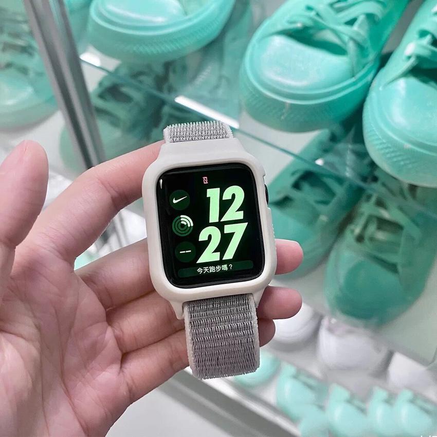 สายนาฬิกา+ตัวเรือน Strap + Case for Apple watch 38mm 42mm 40mm 44mm iwatch Series 6 SE 5 4 3 2 1 Sport Nylon Loop bracelet Replacement band Bands Colorful Strap