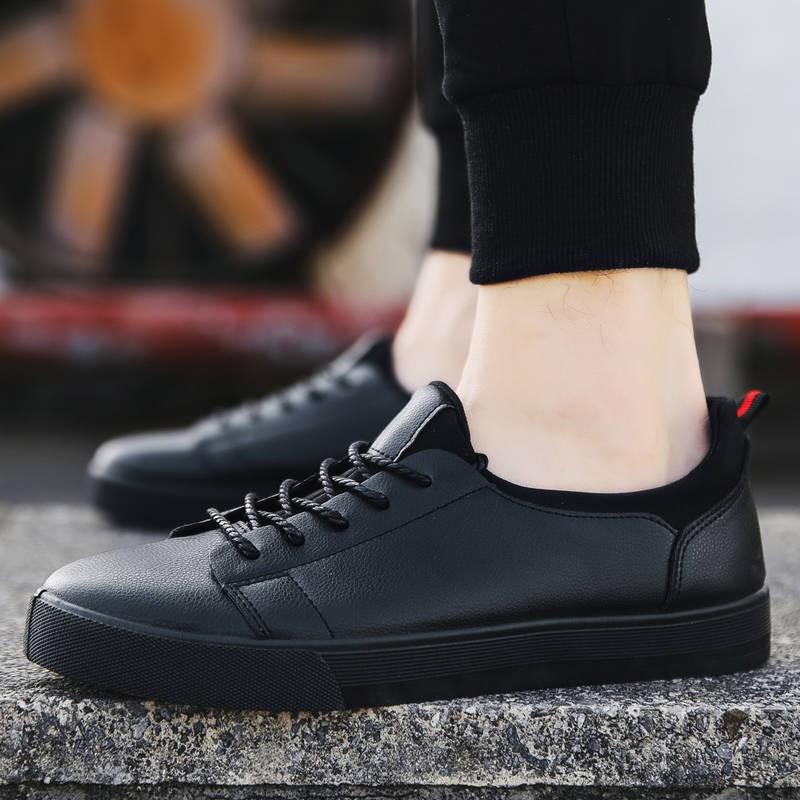 รองเท้าคัชชูผู้ชาย รองเท้าชาย 2020 รองเท้าใหม่รองเท้าหนังลำลองผู้ชายเกาหลีรุ่นแนวโน้มสีดำรองเท้าผู้ชายกันลื่นรองเท้าผู้ช