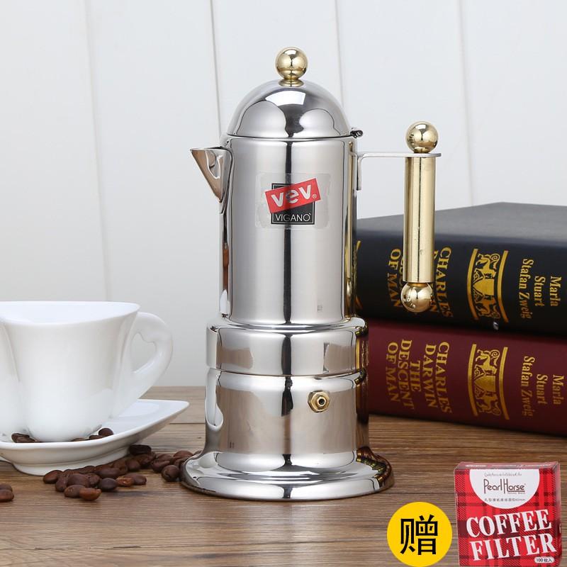เตา moka pot✢☬อิตาลี Moka Pot หม้อกาแฟสแตนเลสในครัวเรือนอิตาเลี่ยนหม้อกาแฟขนาดเล็กเครื่องทำกาแฟ