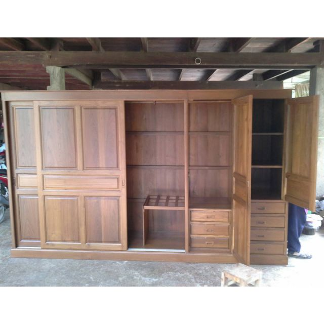 Furnitur99ตู้เสื้อผ้าผ่า.65*300*200cmไม้สักทองแท้ ไม้เรือนเก่า สวยงาม คุ้มค่า คุ้มราคา(แยก3ส่วน)มัดจำ50%