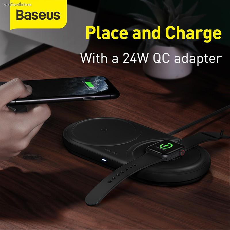 Baseus 2 in 1 ชาร์จไร้สาย Fast Wireless Charger Pad Multi-angle Charging For Apple Watch 5 4 3 10W iPhone 11 Airpods Pro