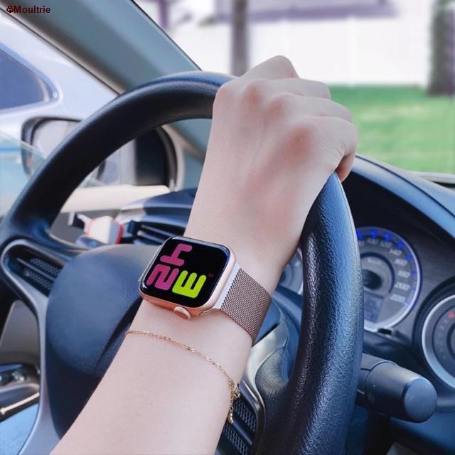 Moultrie♟✽☢สาย สำหรับ apple Watch Band Milanese Loop Series 1 2 3 4 5 6 44 มม 40 38 42 applewatch se 4.7