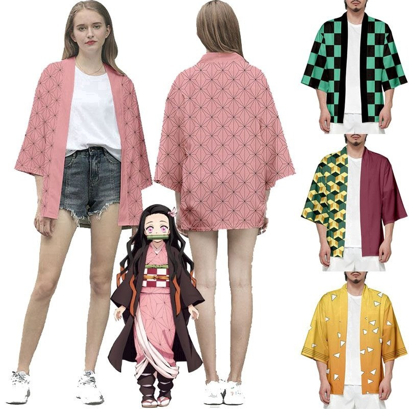 ชุดคอสเพลย์ Anime เสื้อดาบพิฆาตอสูร ชุดชิโนบุ Demon Slayer Kimetsu No Yaiba Cosplay Shinobu Giyuu เสื้อชิโนบ cod