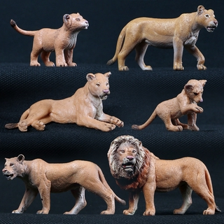 6pcs/Set Lion Family Models Simulation Animal Model Toy Action Figure Doll Figurine Decorate Home Garden Collection For